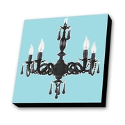 Lamp-In-A-Box Chandelier with Background Graphic Art Plaque in Blue