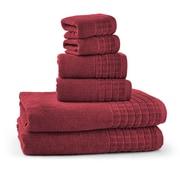 Bonita 100pct Egyptian Cotton Jacquard 6 Piece Towel Set; Biking Red