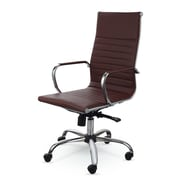 Winport Industries High-Back Leather Swivel Executive Chair; Brown