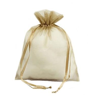 B2B Wraps – Sacs en organza avec cordonnets satinés, 6 x 10 po, or antique, paq./20