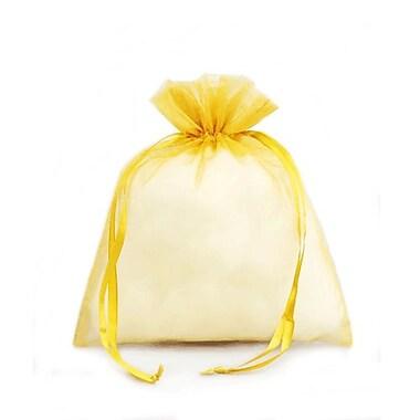 B2B Wraps – Sacs en organza avec cordonnets satinés, 3 x 4 po, doré, paq./20