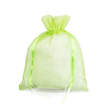 B2B Wraps – Sacs en organza avec cordonnets satinés, 3 x 4 po, menthe, paq./20