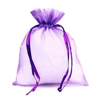 B2B Wraps – Sacs en organza avec cordonnets satinés, 3 x 4 po, prune, paq./20
