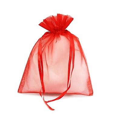 B2B Wraps – Sacs en organza avec cordonnets satinés, 3 x 4 po, rouge, paq./20
