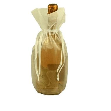 B2B Wraps – Sacs en organza avec cordonnets satinés, bouteille/vin, 6 1/2 x 15 po, ivoire, paq./20
