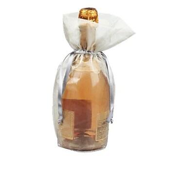 B2B Wraps – Sacs en organza avec cordonnets satinés, bouteille/vin, 6 1/2 x 15 po, argenté, paq./20