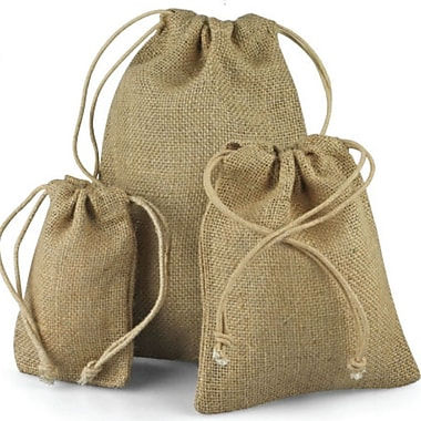 B2B Wraps Jute Bags with Draw String, Natural Jute, 10 x 12