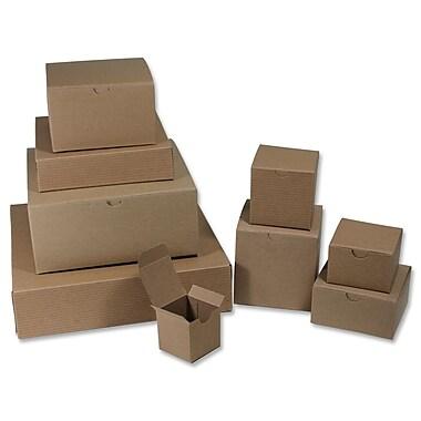 B2B Wraps – Boîtes-cadeau 1 pièce à rayures kraft vernies, 9 x 4 1/2 x 4 1/2 (po), kraft, paq./25