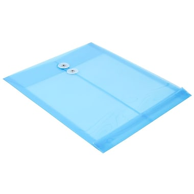 JAM Paper® Plastic Envelopes with Button and String Tie Closure, Letter Open End, 9.75 x 11.75, Blue Poly, 24/Pack (118B1bug)