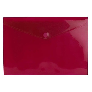 JAM Paper® Plastic Envelopes with VELCRO® Brand Closure, Letter Booklet, 9.75 x 13, Red Poly, 24/Pack (14628174g)