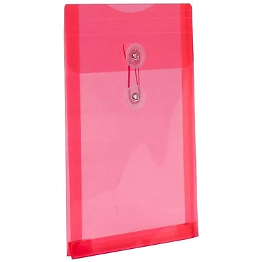 JAM Paper® Plastic Envelopes with Button and String Tie Closure, Open End, 6.25 x 9.25, Red Poly, 24/Pack (472B1reg)