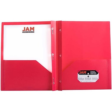 JAM Paper® Plastic Eco Two Pocket Clasp School Folders with Prong Clip Fasteners, Pink, 12/Pack (382ECfug)