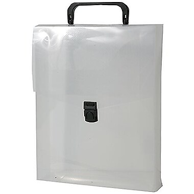 JAM Paper® Plastic Vertical Magazine Style Briefcase, 9.25 x 12 x 2.5, Clear, 2/Pack (7216001g)