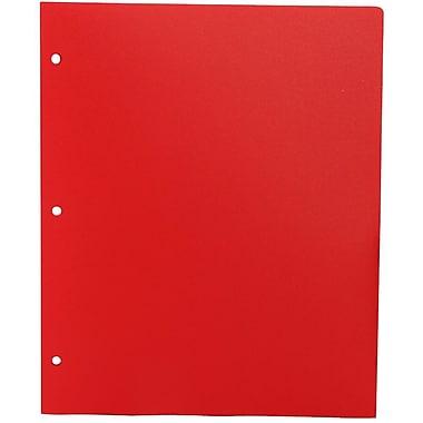JAM PaperMD – Chemise de présentation d'école en plastique à 3 trous à 2 pochettes, rouge, paquet de 12