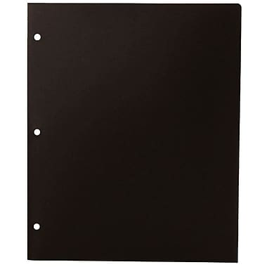 JAM PaperMD – Chemise de présentation d'école en plastique à 3 trous à 2 pochettes, noir, paquet de 12