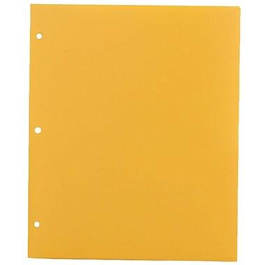JAM PaperMD – Chemise de présentation d'école en plastique à 3 trous à 2 pochettes, jaune, paquet de 12