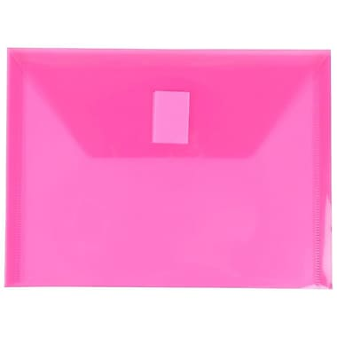 JAM Paper® Plastic Envelopes with VELCRO® Brand Closure, Index Booklet, 5.5 x 7.5, Fuchsia Pink Poly, 24/Pack (920V0fug)
