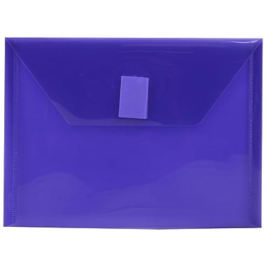 JAM Paper® Plastic Envelopes with VELCRO® Brand Closure, Index Booklet, 5.5 x 7.5, Purple Poly, 24/Pack (920V0pug)