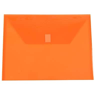 JAM Paper® Plastic Envelopes with VELCRO® Brand Closure, Letter Booklet, 9.75 x 13, Orange Poly, 24/Pack (218V0org)