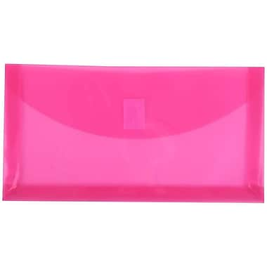 JAM Paper® #10 Plastic Envelopes with VELCRO® Brand Closure, 1 Expansion, 5.25 x 10, Fuchsia Pink Poly, 24/Pack (921V1fug)