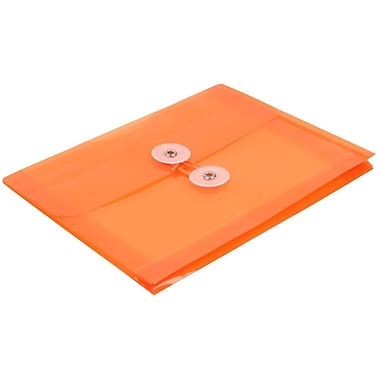 JAM Paper® Plastic Envelopes with Button and String Tie Closure, Index Booklet, 5.25 x 7.5, Orange Poly, 24/Pack (920B1org)