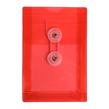 JAM Paper® Plastic Envelopes with Button and String Tie Closure, Open End, 4.25 x 6.25, Red Poly, 24/Pack (473B1reg)