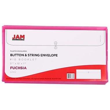 JAM Paper® #10 Plastic Envelopes with Button and String Tie Closure, 5.25 x 10, Fuchsia Pink Poly, 24/Pack (921B1fug)