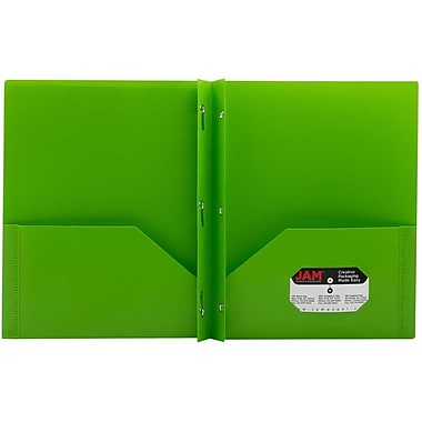 JAM Paper® Plastic Eco Two Pocket Clasp School Folders with Prong Clip Fasteners, Lime Green, 12/Pack (382ECligrg)