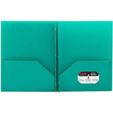 JAM Paper® Plastic Eco Two Pocket Clasp School Folders with Prong Clip Fasteners, Teal Blue, 12/Pack (382ECteg)