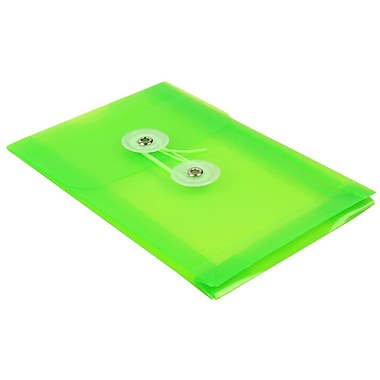 JAM Paper® Plastic Envelopes with Button and String Tie Closure, Open End, 4.25 x 6.25, Lime Green Poly, 24/Pack (473B1lig)