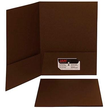 JAM Paper® Premium Paper Cardstock Two Pocket Presentation Folders, Chocolate Brown, 12/Pack (233722g)