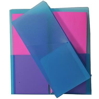 JAM PaperMD – Chemise de présentation miniature en plastique robuste à 2 pochettes, 4 1/4 x 9 1/8 po, bleu, paquet de 12