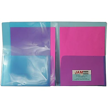 JAM Paper® Plastic Regular Weight See Through Two Pocket Folder, Blue, 12/Pack
