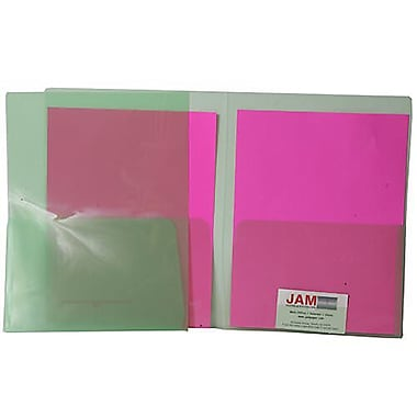 JAM Paper® Plastic See Through Two Pocket Folder, Green, 12/Pack (381greeng)
