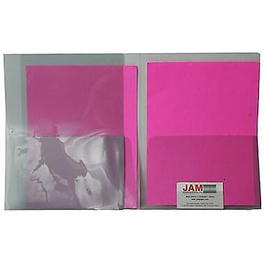 JAM Paper® Plastic See Through Two Pocket Folder, Smoke Grey, 12/Pack (381smokeg)