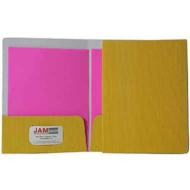 JAM Paper® Corrugated Fluted Folders, Yellow, 12/Pack (87499g)
