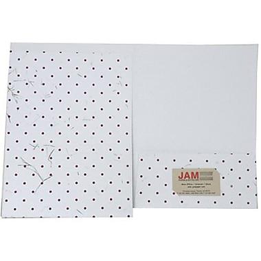 JAM Paper® Handmade Folders, White with Burgundy Dots, 12/Pack (9935980g)