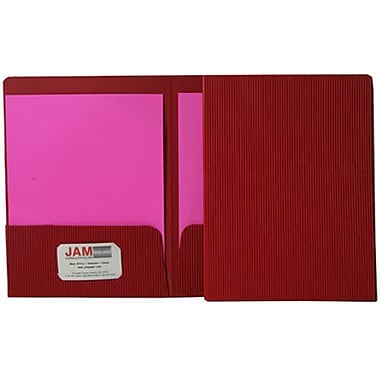 JAM Paper® Corrugated Fluted Folders, Red, 12/Pack (87500g)