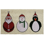 Rubber-Cal, Inc. Santa, Snowman and a Penguin Christmas Holiday Doormat