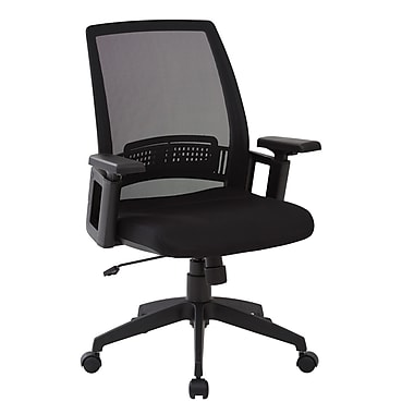 Office Star Work Smart Screen Back Chair with Padded Adjustable Arms and Black Mesh Seat