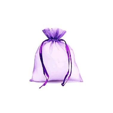 B2B Wraps – Sacs en organza avec cordonnets satinés, 3 x 4 po, violet, paq./20