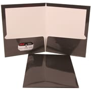 JAM Paper® Glossy Two Pocket Presentation Folder Grey, Sold Individually