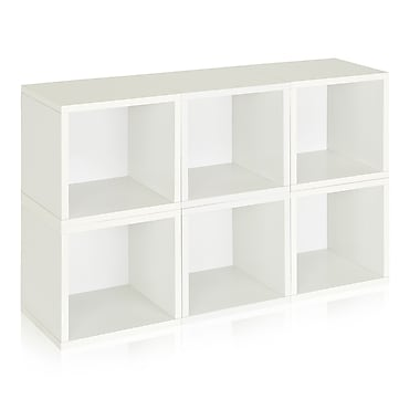 Way Basics Eco-Friendly 6 Stackable Modular Storage Cubes, White - Lifetime Warranty