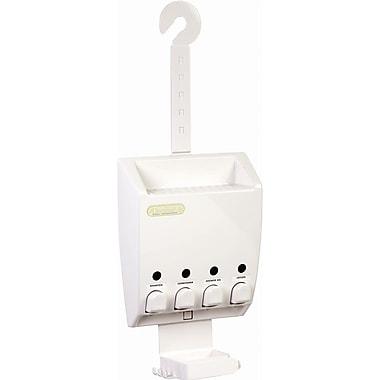 Ulti-Mate – Distributeur de savon avec 4 réservoirs de type serviteur de douche, blanc