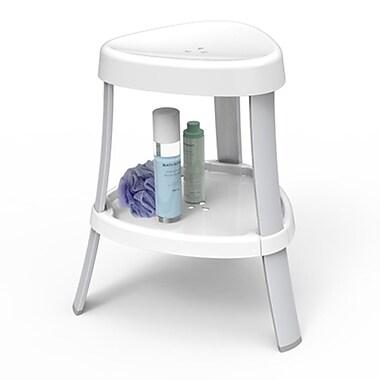 Spa – Siège de douche avec tablette, pattes en aluminium, blanc