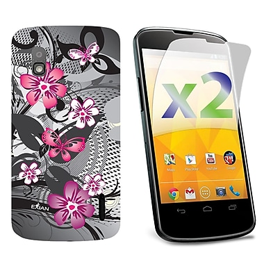 Exian Nexus 4 Screen Guards x2 & TPU Cases, Floral Pattern