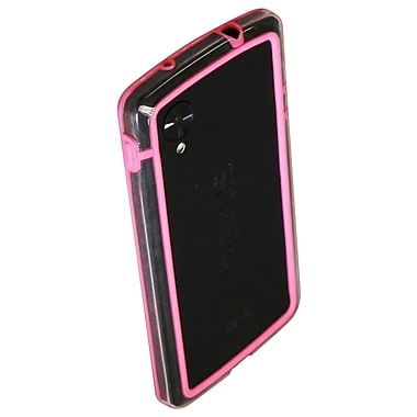 Exian Nexus 5 TPU Bumper Case with Transparent Sides, Pink