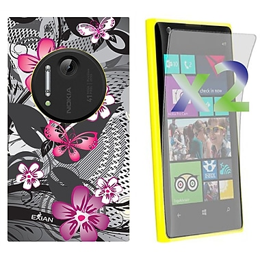 Exian Case for Lumia 1020, Floral Pattern Black & Pink