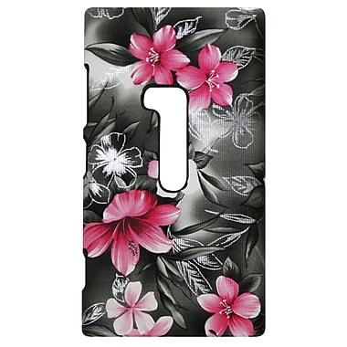 Exian – Étui pour Lumia 920, motif floral rose sur fond noir