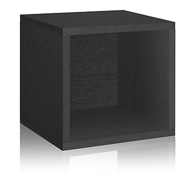 Way Basics Eco-Friendly Stackable Storage Cube Organizer, Black Wood Grain - Lifetime Warranty